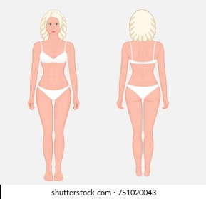 Posterior, frontal, anterior, back views of naked body of European woman in full growth in underwear. Vector illustration for advertising, medical (health care), bodybuilding, sport publication. EPS 8