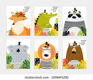 Posters with animals. Cartoon characters. Cartoon animals. Lion, crocodile, panda, fox, bear, koala