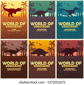 Posters collection World of dinosaurs. Prehistoric world. Jurassic period