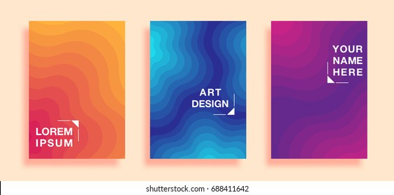 Posters with abstract geometric pattern covers design, resembling ripples on water. vector business banner template. Eps10
