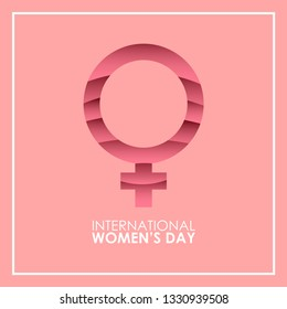 Posters or international women's day greeting cards. Sign of woman in a pink background. - Vector