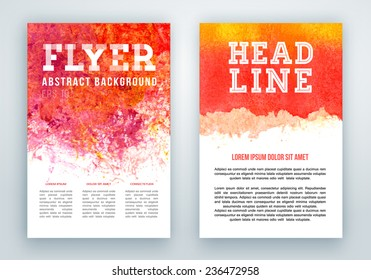 Posters or report brochure with abstract watercolor paint splash.