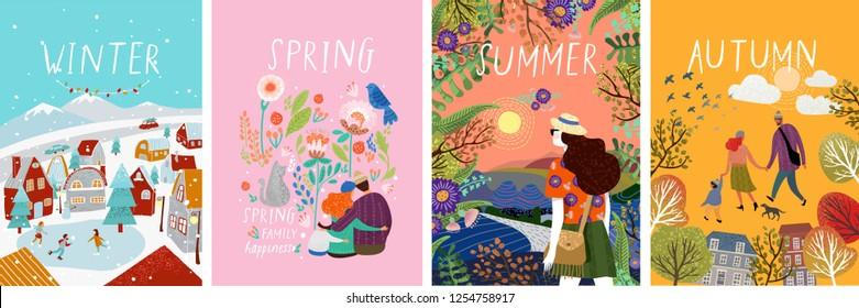 плакаты времен года: зима, весна, лето, осень; иллюстрации семьи в природе, девушки в пейзаже, семьи с кошкой в цветах и улицы города с катком и людьми