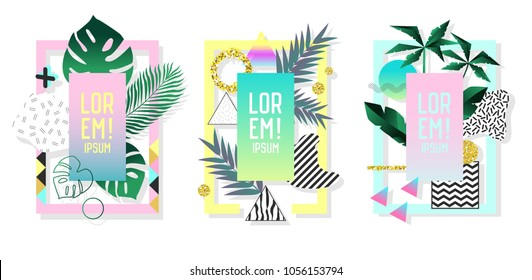 Posters Set with Abstract Geometric Elements and Palm Leaves. Tropical Design Set Memphis Style 80s-90s Fashion for Covers, Placards, Flyers. Vector illustration