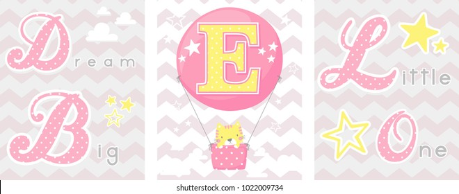 posters set of dream big little one slogan with baby cat and balloon with initial e. can be used for nursery art decor, newborn baby decoration and baby shower