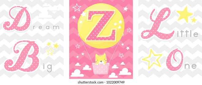 posters set of dream big little one slogan with baby cat and balloon with initial z. can be used for nursery art decor, newborn baby decoration and baby shower