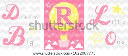 Posters Set Dream Big Little One Stock Vector (Royalty Free