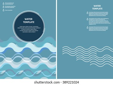 Poster's set or info graphics template with water waves. You can use this template for research statistic visualization, advertising, or any other information content.