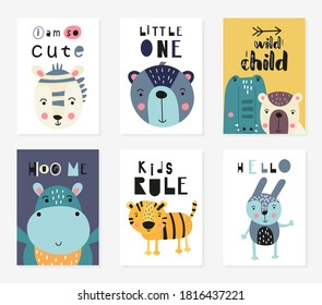 Posters set for nursery design. Forest animals in scandinavian style - zebra, bear, croc, hippo, tiger. Vector. Kids print for baby clothes, greeting card, wrapping. Lettering, motivational quotes.
