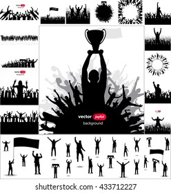 Posters and silhouettes with cheering people