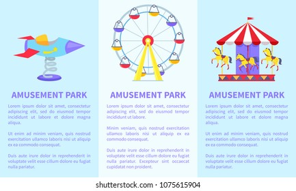 Posters with text and ferris wheel, rotating horses, rocket on spin on green lawn vector illustration advertisement banners