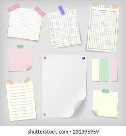 Post-it set of realistic sticky notes, lined and squared notebook papers and blank sheet mock-up with pins and stickers. Place for text.