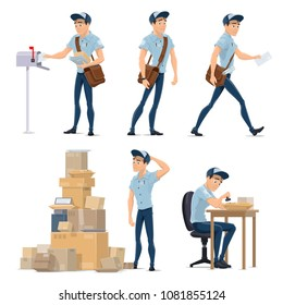 Postman cartoon icon for postal service occupation. Mailman in blue uniform with bag delivering letter to mailbox and post office worker sorting mail, box and parcel symbol for delivery service design