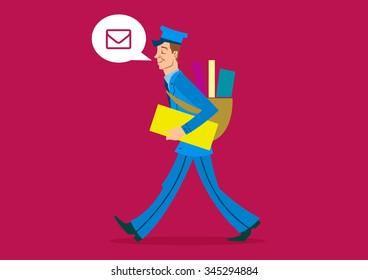 Postman - Cartoon illustration