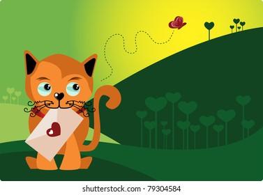 Postman Cat - Valentine's day