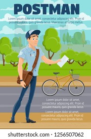Postman delivering mail with bike. Mailman cartoon character in blue uniform with letter, envelope, parcels and mailbag. Post office and postal service occupation vector design