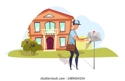Postman delivering mail flat vector illustration. Young mailman, courier putting correspondence to mailbox isolated character. Cartoon deliveryman near townhouse bringing mail, letters