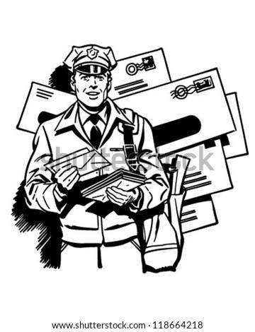 postman delivering mail retro clipart illustration のベクター画像