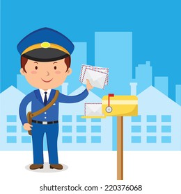 Postman. Friendly postman in blue uniform with bag and letters.