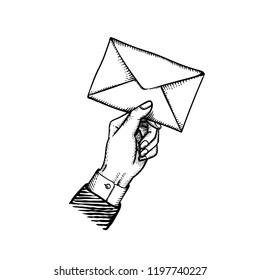 Postman holding letter vintage engraved vector illustration of post letter envelope in giving retro hand isolated on white