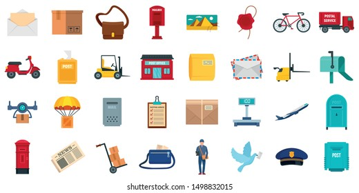 Postman icons set. Flat set of postman vector icons for web design