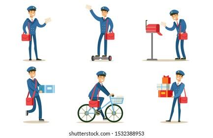 Postman or Mailman Delivering Mails and Packages Set Vector Illustration