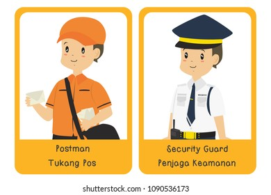 Postman and security guard. Printable profession bilingual flashcard, English Indonesian language, cartoon vector.
