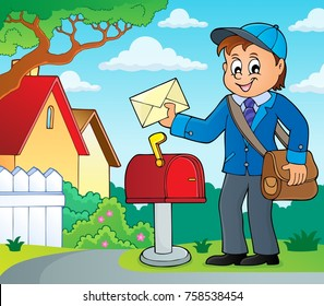 Postman topic image 2 - eps10 vector illustration.