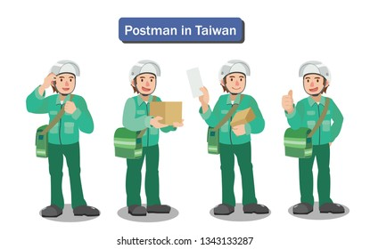 Postman wearing uniform with parcels and letter
