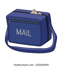 The postman's bag is a means for carrying letters. The postman's bag is blue. The mailman's bag has a big handle.Mail and postman single icon in cartoon style vector symbol stock illustration web.
