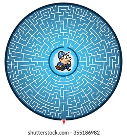 Postman's Round Maze Game (help the Postman escape the maze - Maze vector puzzle)