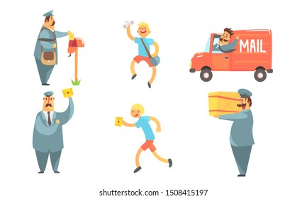 Postmen Delivering Letters Set, Funny Deliverymen Cartoon Characters with Parcels, Shipping Service Vector Illustration