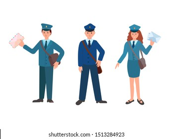 Postmen at work to deliver correspondence, letters, newspapers, parcels. Two male postmen and one female postman in the uniform of post office workers. Vector illustration.