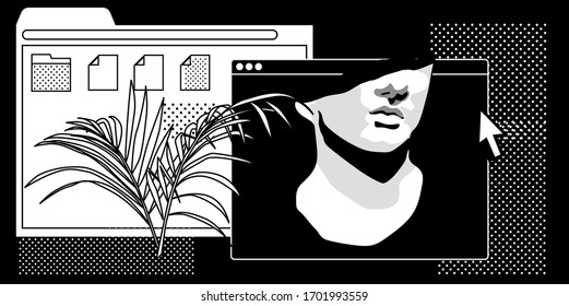 Postmodern artsy collage with user interface elements, speech bubbles and marble sculpture. Surreal style vector illustration.