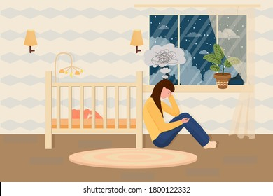 Postpartum depression concept in flat style. Tired, sad mother, woman sitting on floor near bad with sleeping baby. Psychology problem, parent difficulty.