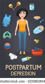 Postpartum depression illustration. Sad mother, exhausted with postnatal depression with laundry and baby care items toys,food flying around her. Psychologycal depression problem. Vector design