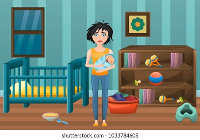 Postpartum depression illustration. Tired mother with dirty clothes with postnatal depression in a room with laundry and baby care items toys,food,crib Mood disordr problem. Vector design