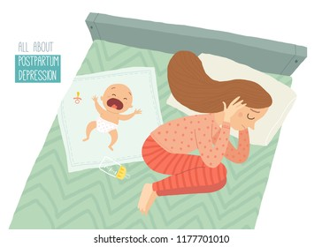 Postpartum depression. Postnatal depression. Baby s blues. Cartoon vector hand drawn eps 10 illustration isolated on white background.