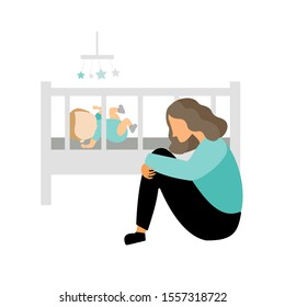 Postpartum depression. Sad tired young mother sitting near baby bed. Flat vector illustration. Postnatal depression.