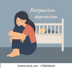 Postpartum postnatal depression PPD. Tired sad woman sits near the cradle with a newborn baby. The young mother is on the floor and hugs her knees. Flat vector illustration on a blue background.