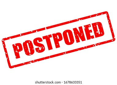 Postponed red grunge stamp isolated on white background