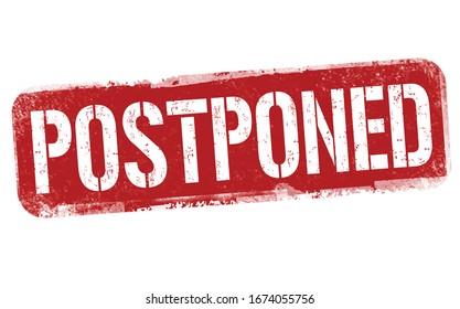 Postponed sign or stamp on white background, vector illustration
