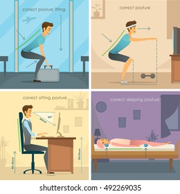 Posture 2x2 design concept set of correct lifting squats sitting and sleeping poses flat vector illustration
