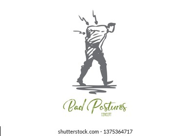 Posture, bad, spine, pain, back, problem concept. Hand drawn man with backache concept sketch. Isolated vector illustration.
