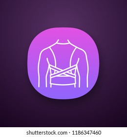 Posture corrector app icon. Back brace. Back support. Orthopedic thoracolumbar corset. UI/UX interface. Posture support brace. Kyphosis, lordosis, scoliosis treatment. Vector isolated illustration