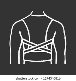 Posture corrector chalk icon. Back brace. Back support. Orthopedic thoracolumbar corset. Posture support brace. Kyphosis, lordosis, scoliosis treatment. Isolated vector chalkboard illustration