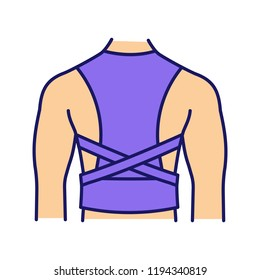 Posture corrector color icon. Back brace. Back support. Orthopedic thoracolumbar corset. Posture support brace. Kyphosis, lordosis, scoliosis treatment. Isolated vector illustration