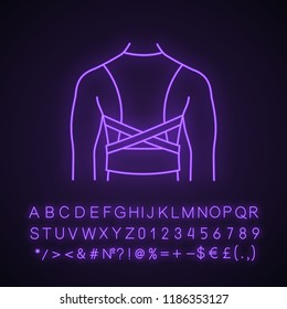Posture corrector neon light icon. Back brace. Back support. Glowing sign with alphabet, numbers, symbols. Posture support brace. Kyphosis, lordosis, scoliosis treatment. Vector isolated illustration