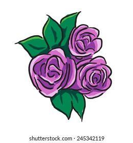 Posy of three purple roses with leaves