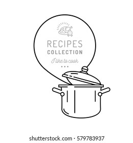 Pot cooking icon pan. Boiling pot, Steam icon. Recipes book or Menu symbol, Speech bubble, Culinary background. Vector illustration isolated elements